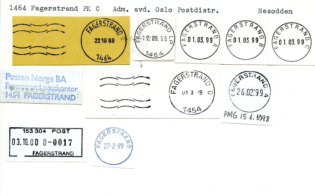 Stempelkatalog. 1464 Fagerstrand, Oslo