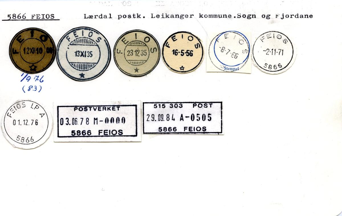 Stempelkatalog, 5866 Feios, Lærdal postkontor, Leikanger kommune, Sogn og Fjordane fylke.