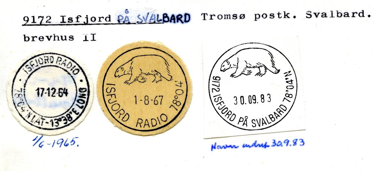 Stempelkatalog. 9172 Isfjord på Svalbard, Tromsø postk., Svalbard