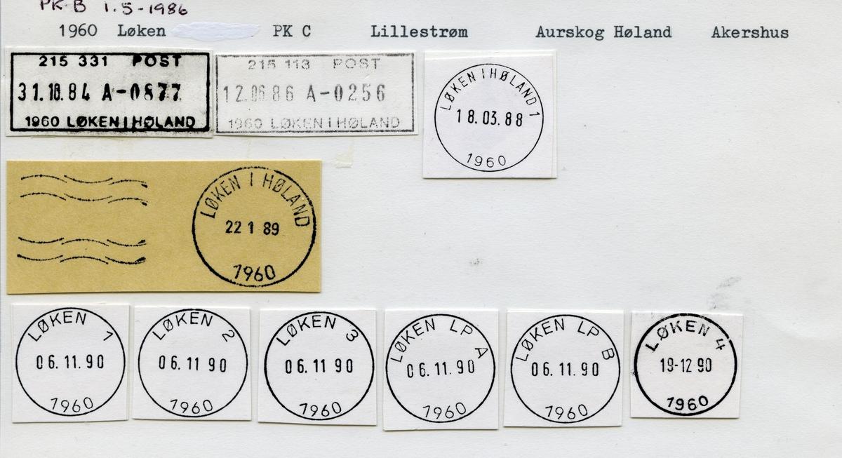 Stempelkatalog, 1960 Løken, Lillestrøm, Aurskog Høland kommune, Akershus (Høland, Løken i Romerike)