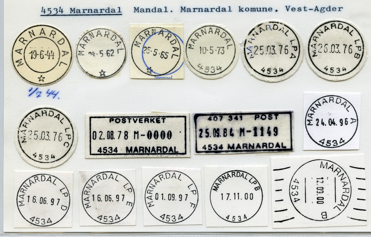 Stempelkatalog, 4534 Marnardal, Marnardal kommune, Vest-Agder