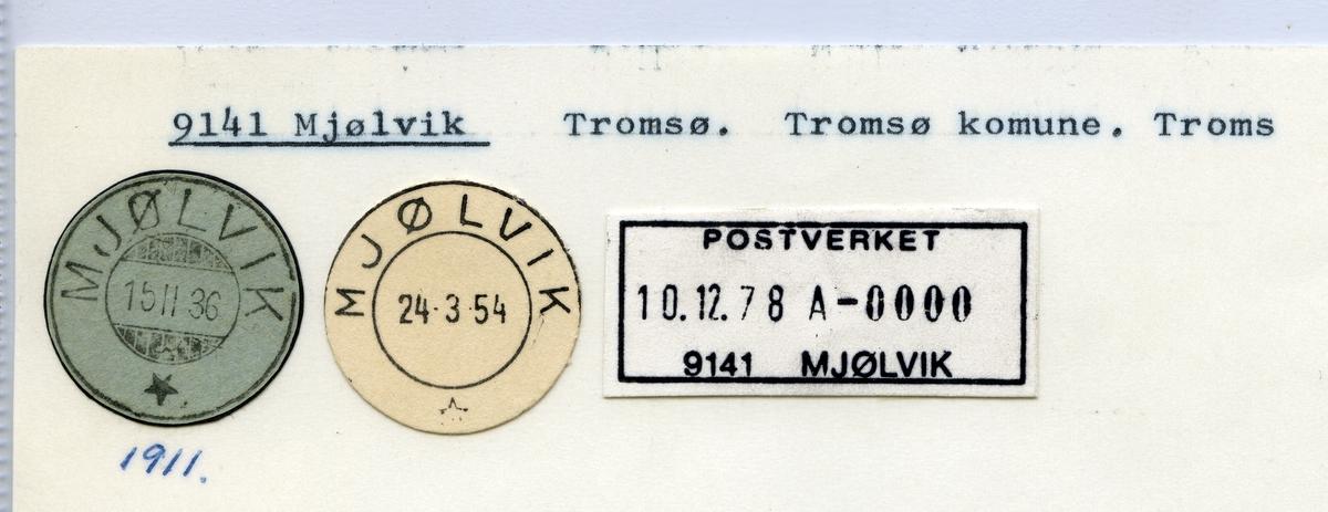 Stempelkatalog  9141 Mjølvik, Tromsø kommune, Troms