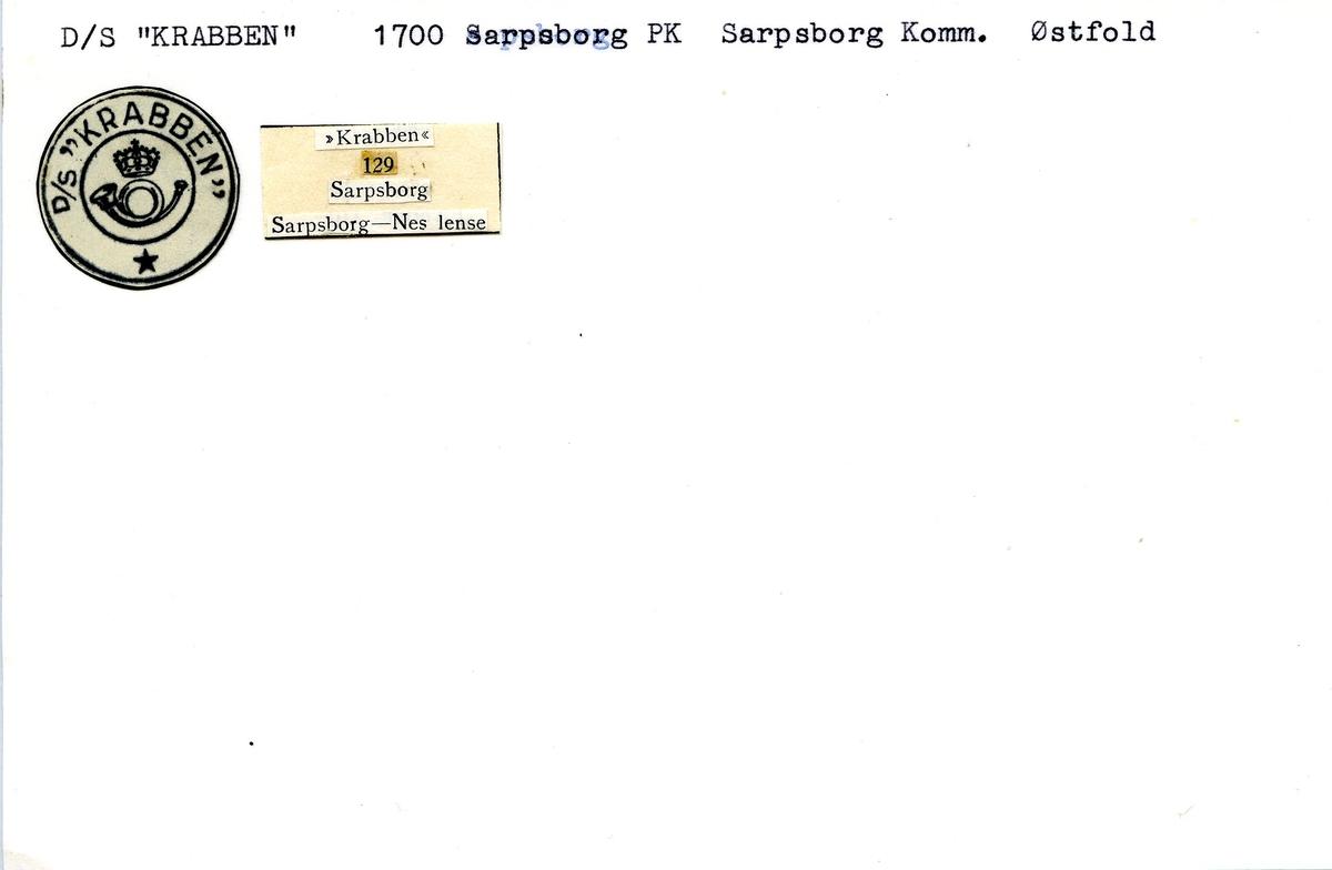 """Stempelkatalog. Ambulerende brevhus båt, D/S """"Krabben"""". 1700 Sarpsborg postkontor. Sarpsborg kommune. Østfold fylke."""