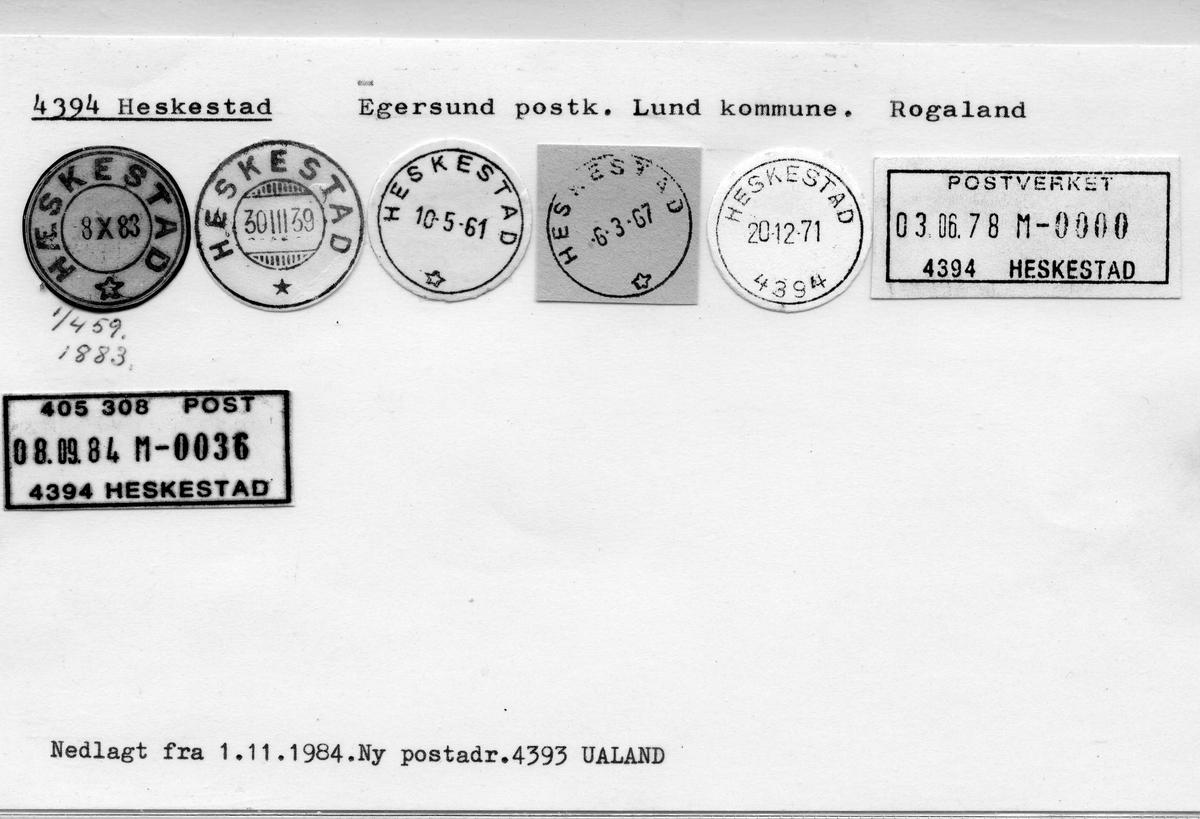 Stempelkatalog: 4394 Heskestad, Egersund, Lund kommune, Rogaland