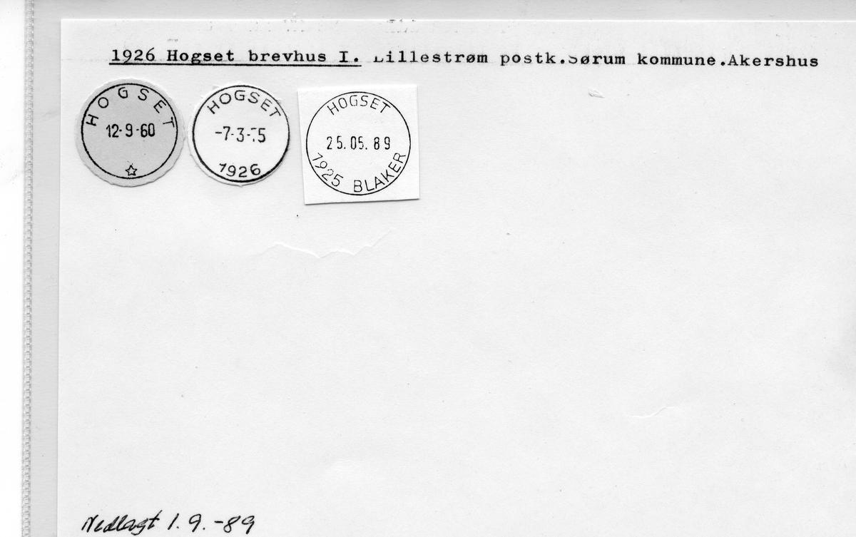 Stempelkatalog: 1926 Hogset brevhus, Lillestrøm postk., Sørum kommune, Akershus