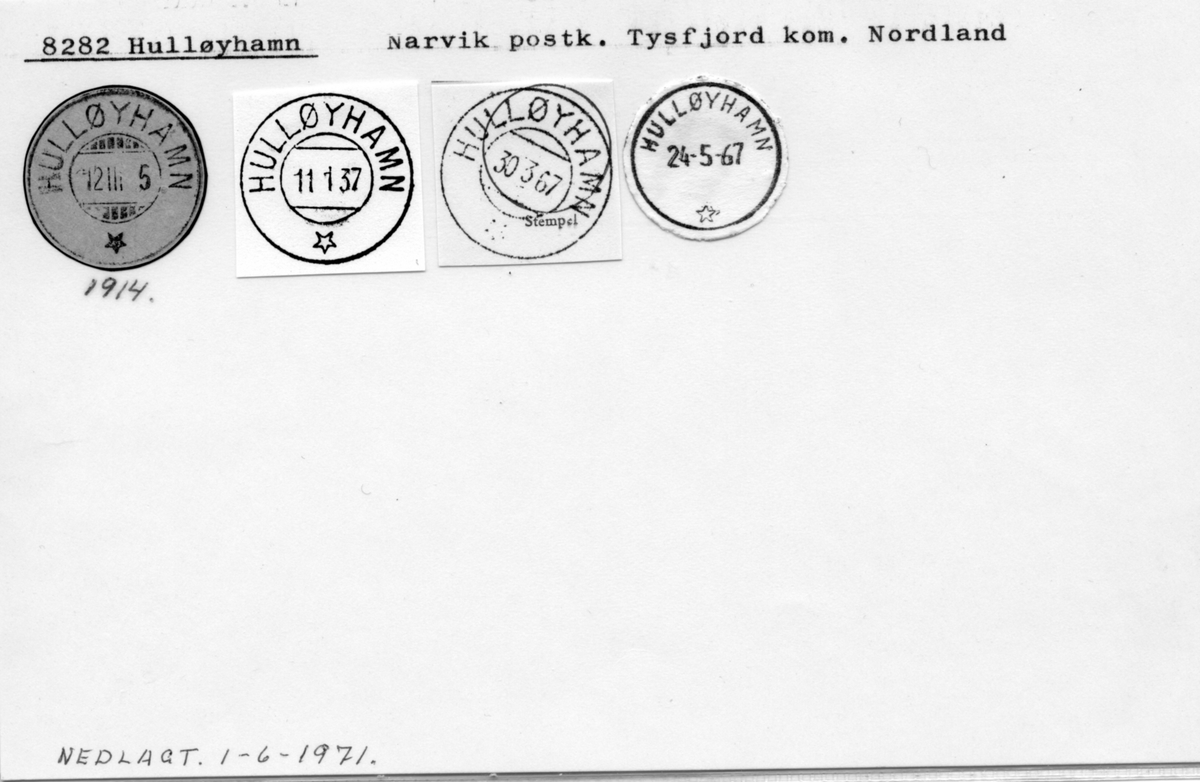Stempelkatalog. 8282 Hulløyhamn, Narvik postk., Tysfjord kommune, Nordland