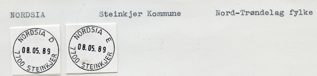 Stempelkatalog. Nordsia. Steinkjer postkontor. Steinkjer kommune. Nord-Trøndelag fylke.