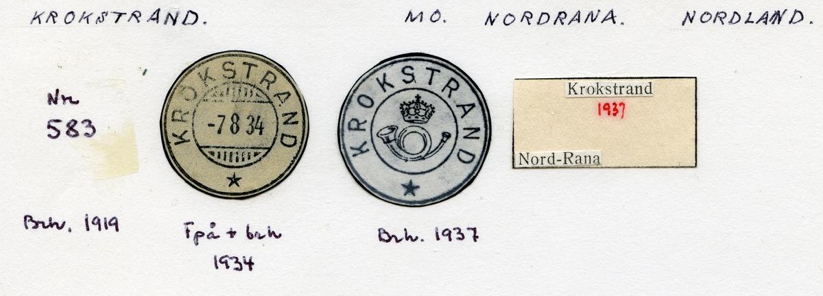 Stempelkatalog Krokstrand, Mo, Nordrana, Nordland