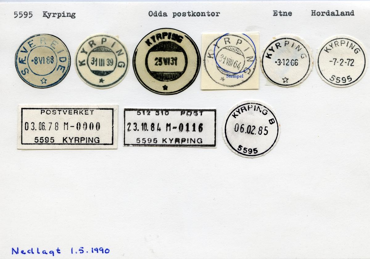 Stempelkatalog 5595 Kyrping (Sævereide), Odda, Etne, Hordaland