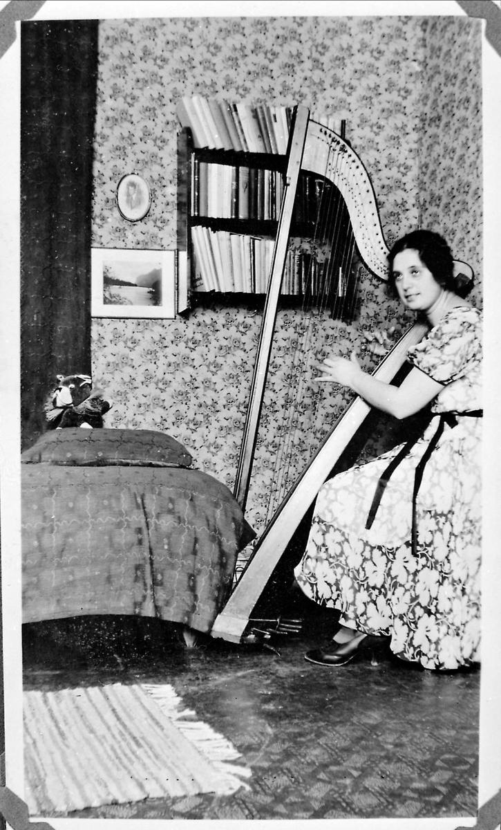 Kvinne, harpe, interiør,