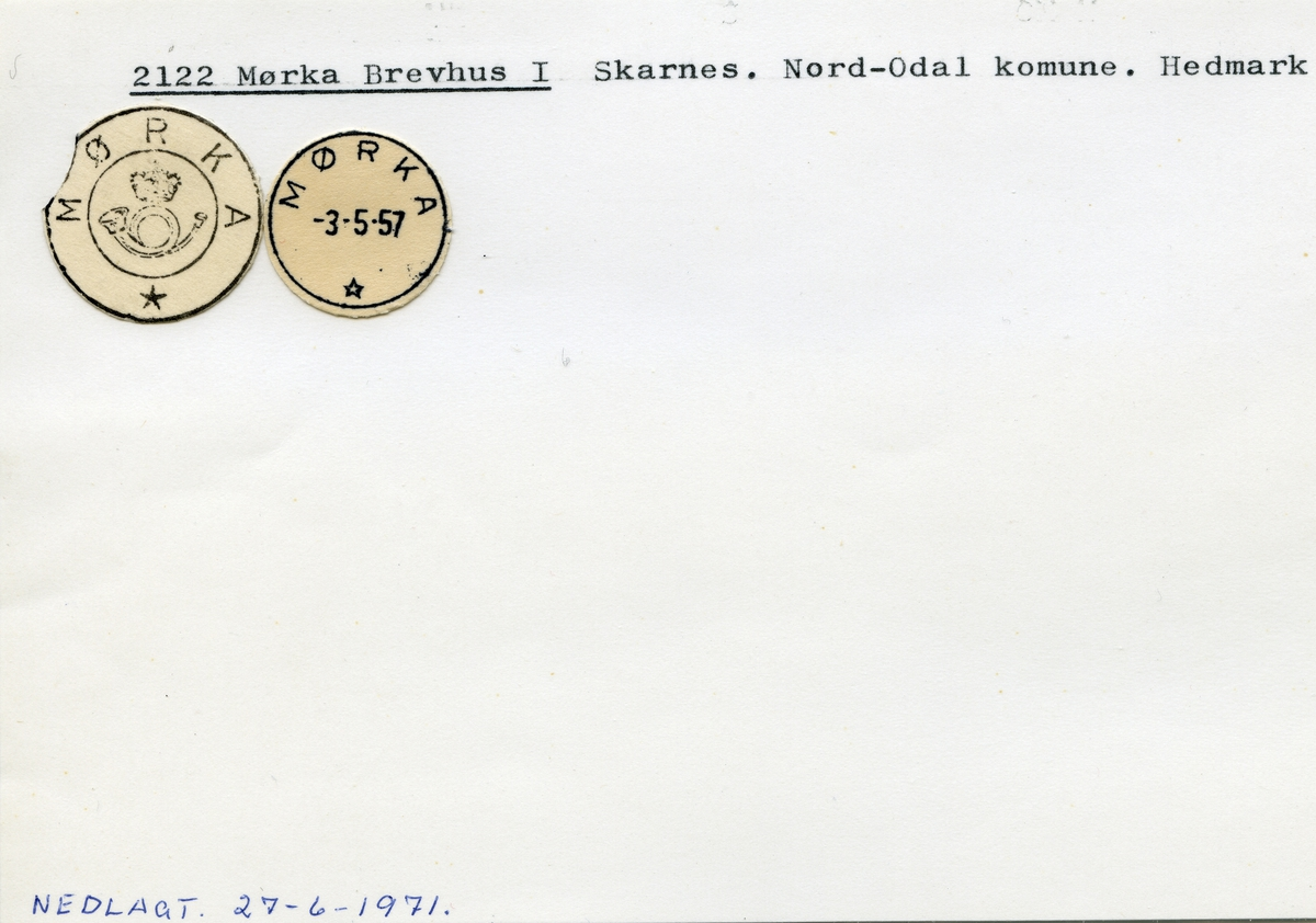 Stempelkatalog  2122 Mørka, Nord-Odal kommune, Hedmark