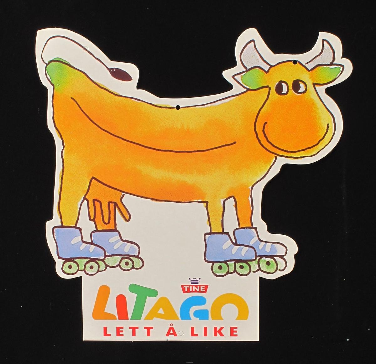 Ku, bananformet, med horn på rulleskøyter.