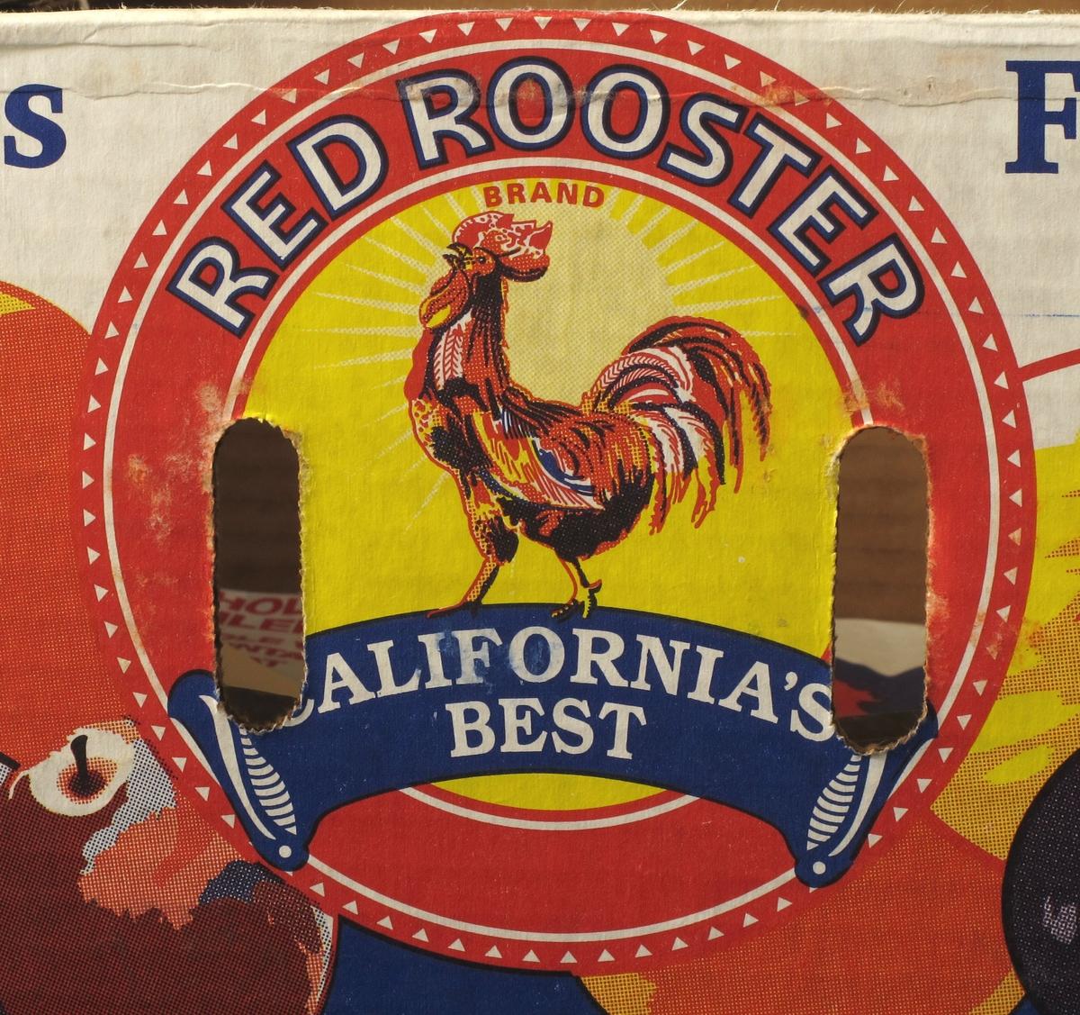 Plummer, epler, varemerke med rød hane.