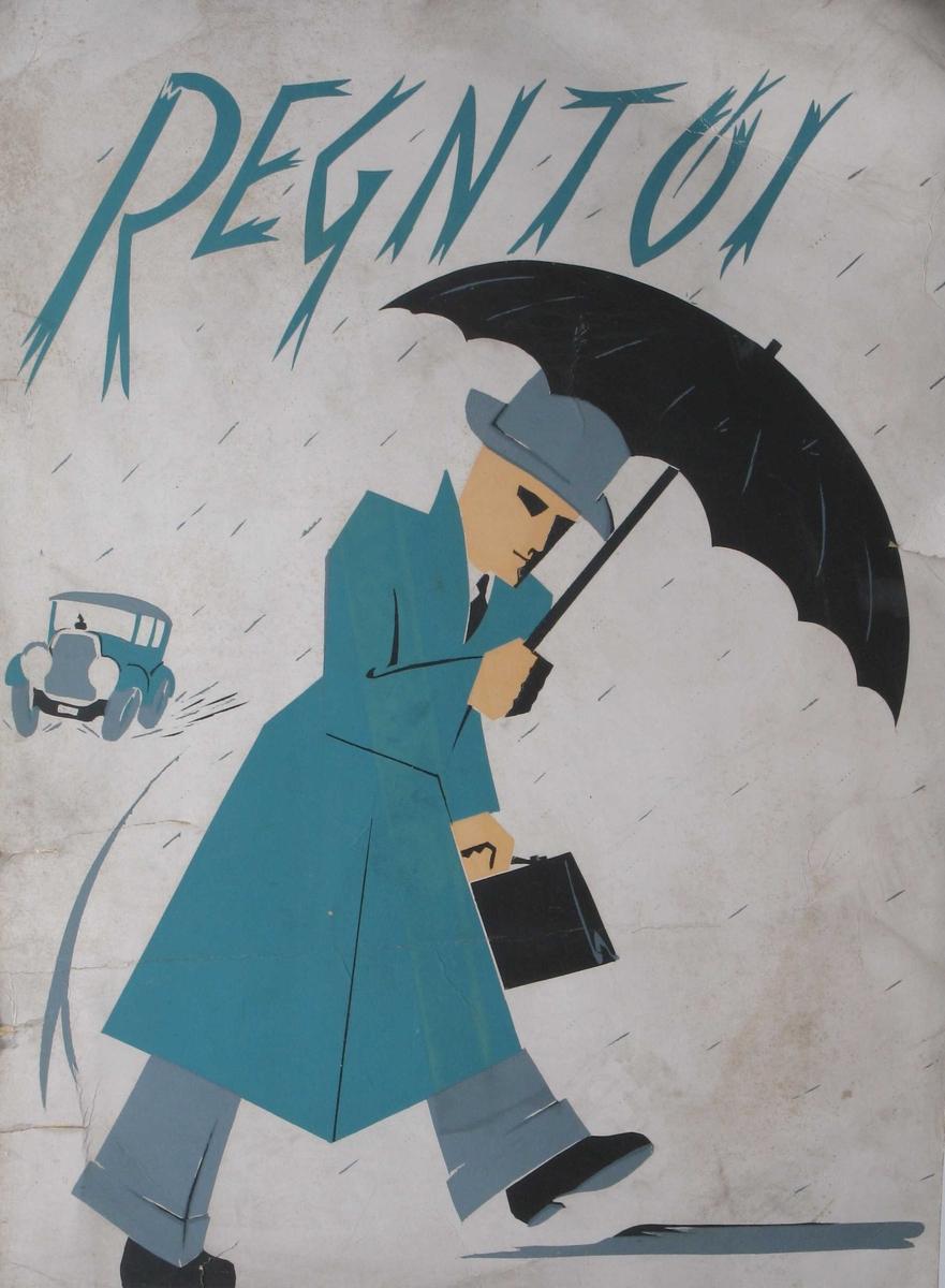 Mann med hatt, veske, paraply og regnfrakk. Bil i bakgrunnen.