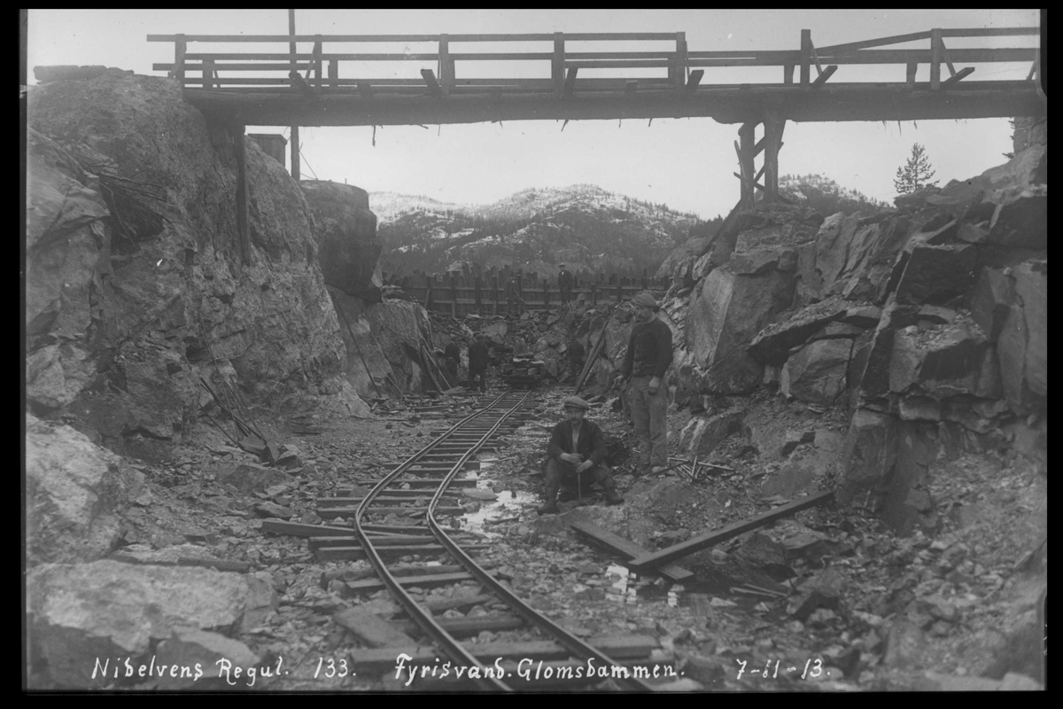 Arendal Fossekompani i begynnelsen av 1900-tallet CD merket 0468, Bilde: 97 Sted: Fyrisvann, Glomsdammen Beskrivelse: Regulering