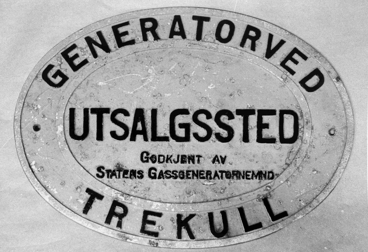 """Bilder fra Birkenes kommune Skilt fra krigen: """"Generatorved"""""""
