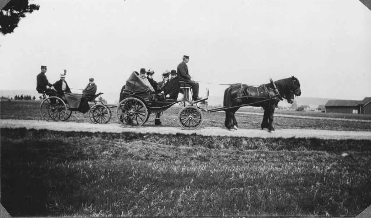 To ekvipasjer, hester med vogn.