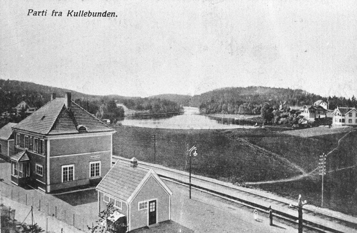 """Kolbotn jernbanestasjon, postkort """"Parti fra Kullebunden""""."""