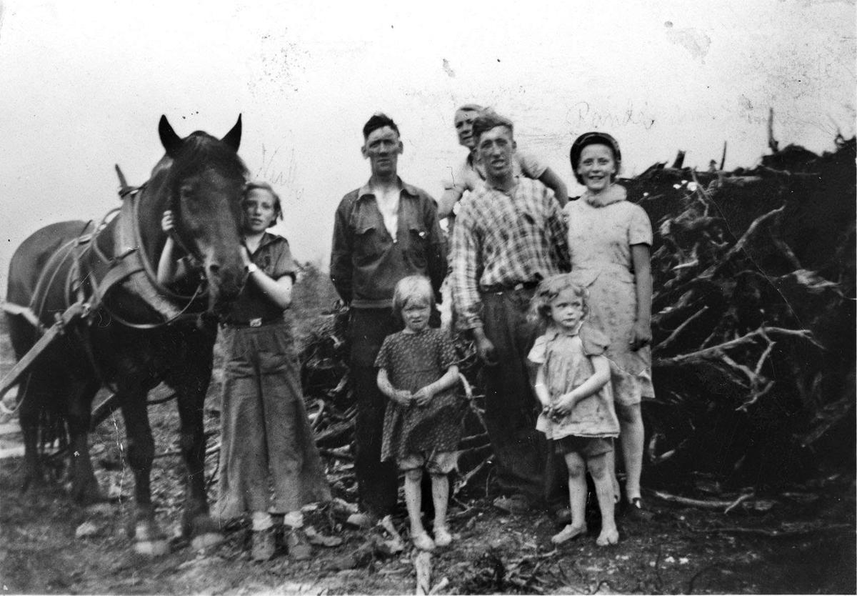 Langemoen, Gystadmyra,  Ullensaker. Gustav og Odd Lange. Flere barn og hest.