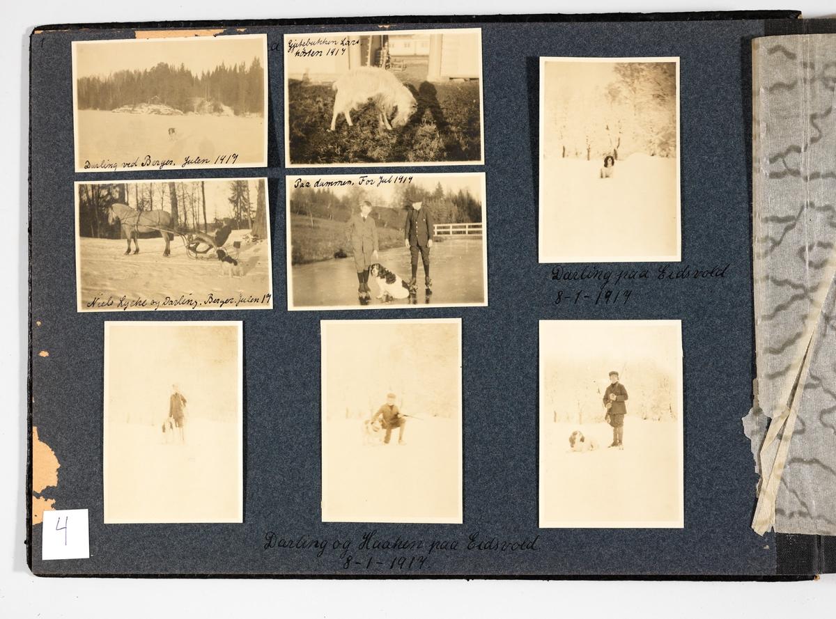 """Side 4: Består av åtte sort/hvitt bilder limt på en side av kartong. Noen av bildene er i ettertid festet med tape. Siden er slitt i kanten. Tekstene er skrevet med sort penn.  Du kan se bildene fra albumsiden under """"Består av"""""""