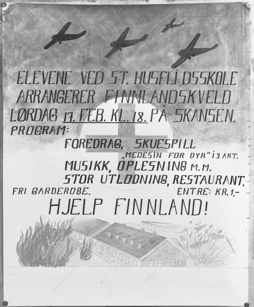 """Plakat med """"Hjelp Finland"""" laget av elevene ved Statens Husflidsskole, Skansen, Blaker. 17. febr. 1940."""