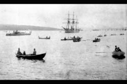 Seildamper og masse småbåter på Oslofjorden, mellom byen og