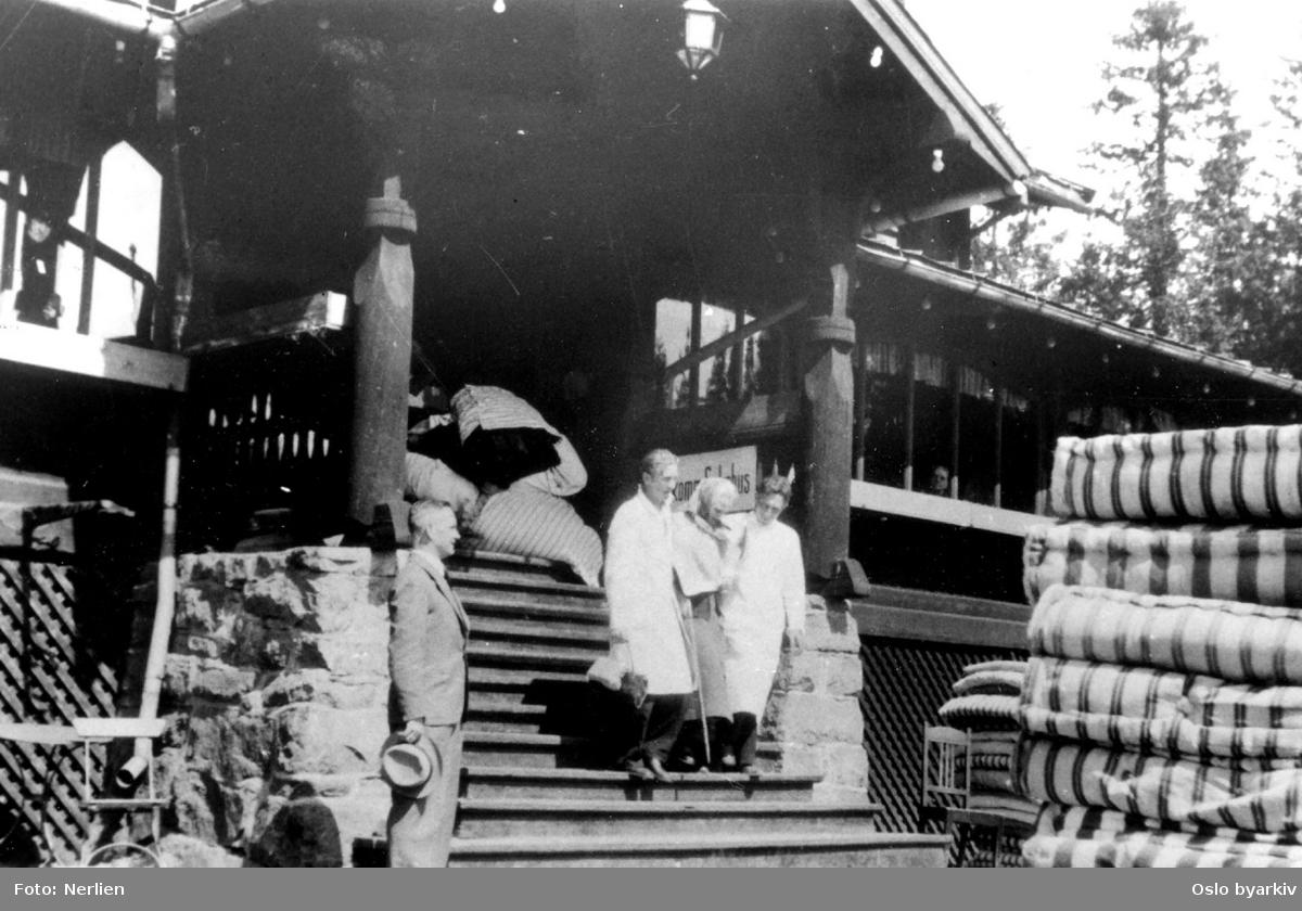 Tibakeføring av evakuerte av gamle og pleiepasienter fra Frognersteren til Lille Tøyen pleiehjem, juni 1940
