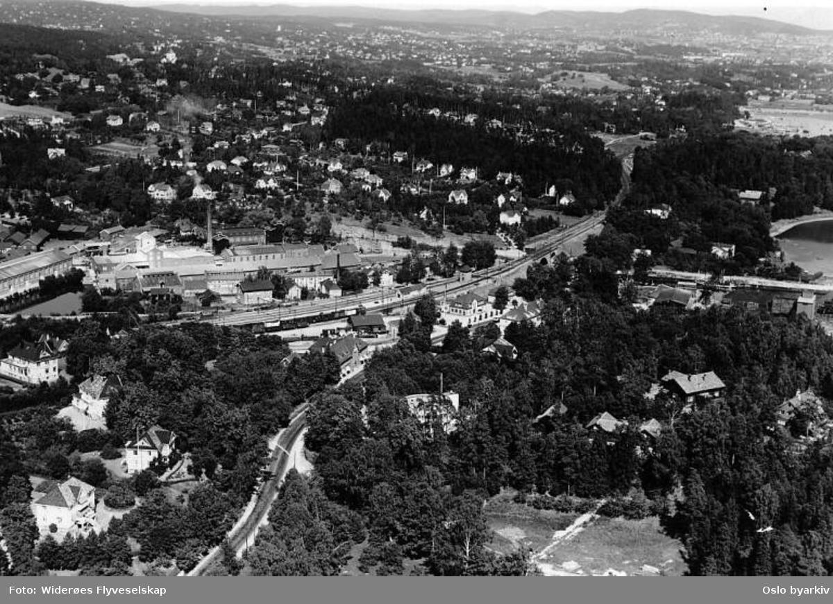 Lysaker kjemiske fabrikk, Lilleakerveien 2, Lysaker stasjon (Flyfoto)