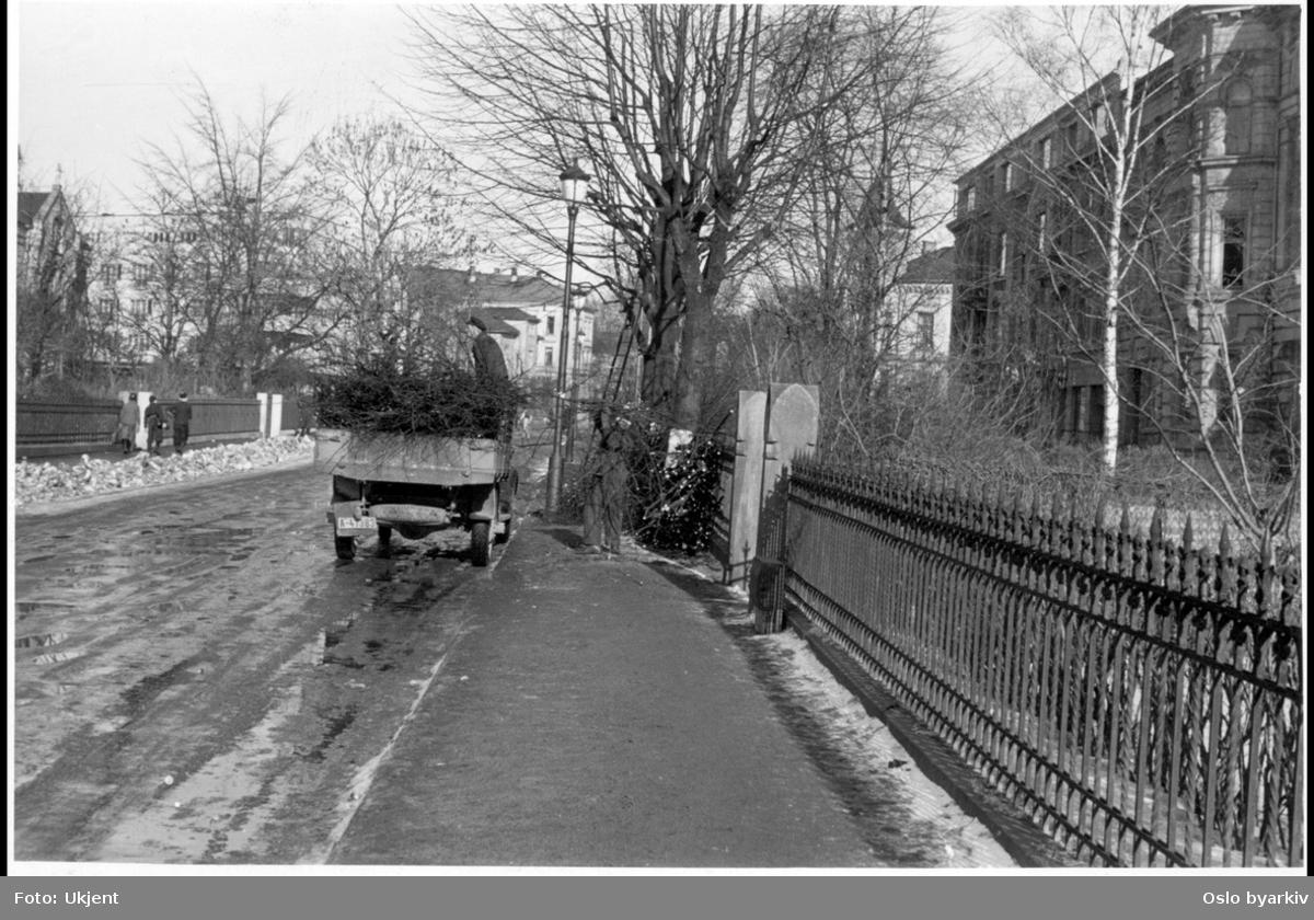 Forhage bak stakittgjerde. Beskjæring av tre langs gata (lastebil). Vårløsning i gata.