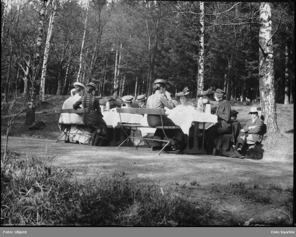 Personer i hagen. dekket bord, benker