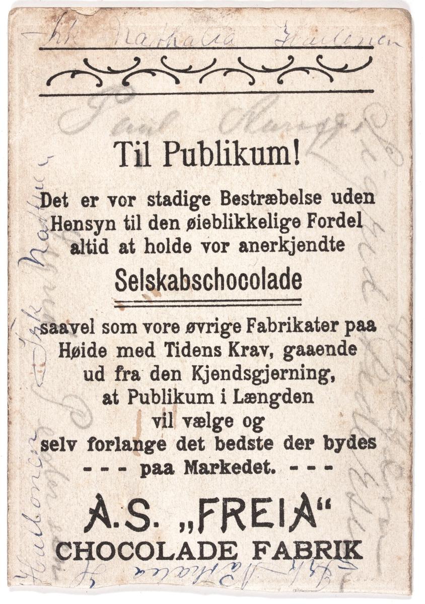 Visittkortfotografi. Sarah Bernhardt teaterskuespiller. Reklame for Freia selskapssjokolade på baksiden.
