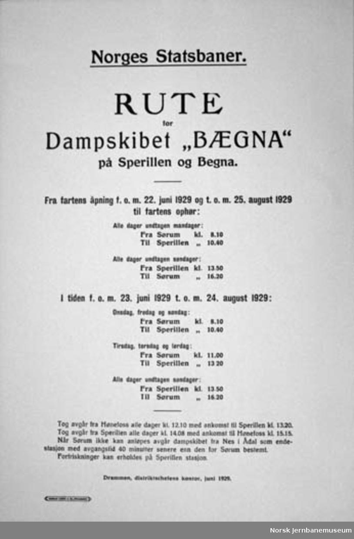 Ruteoppslag fra dampskipet Bægna sommeren 1929
