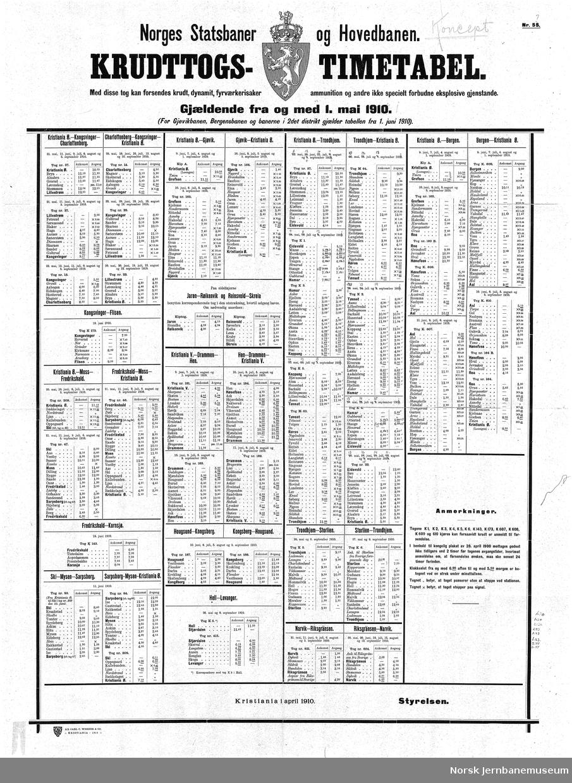 Norges Statsbaner og Hovedbanen - Krudttogs-Timetabel, fra 01.05.1910
