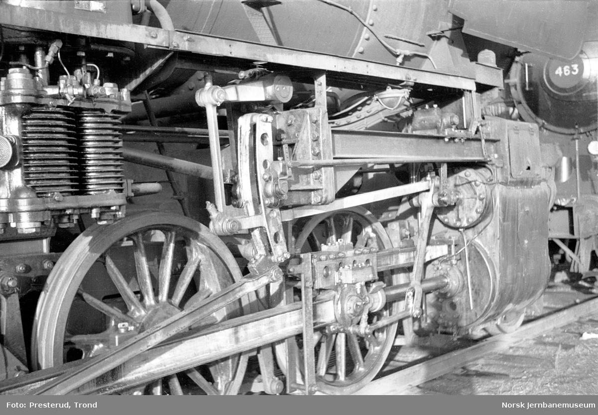 Damplokomotiv type 63a nr. 4832,detalj av drivverk