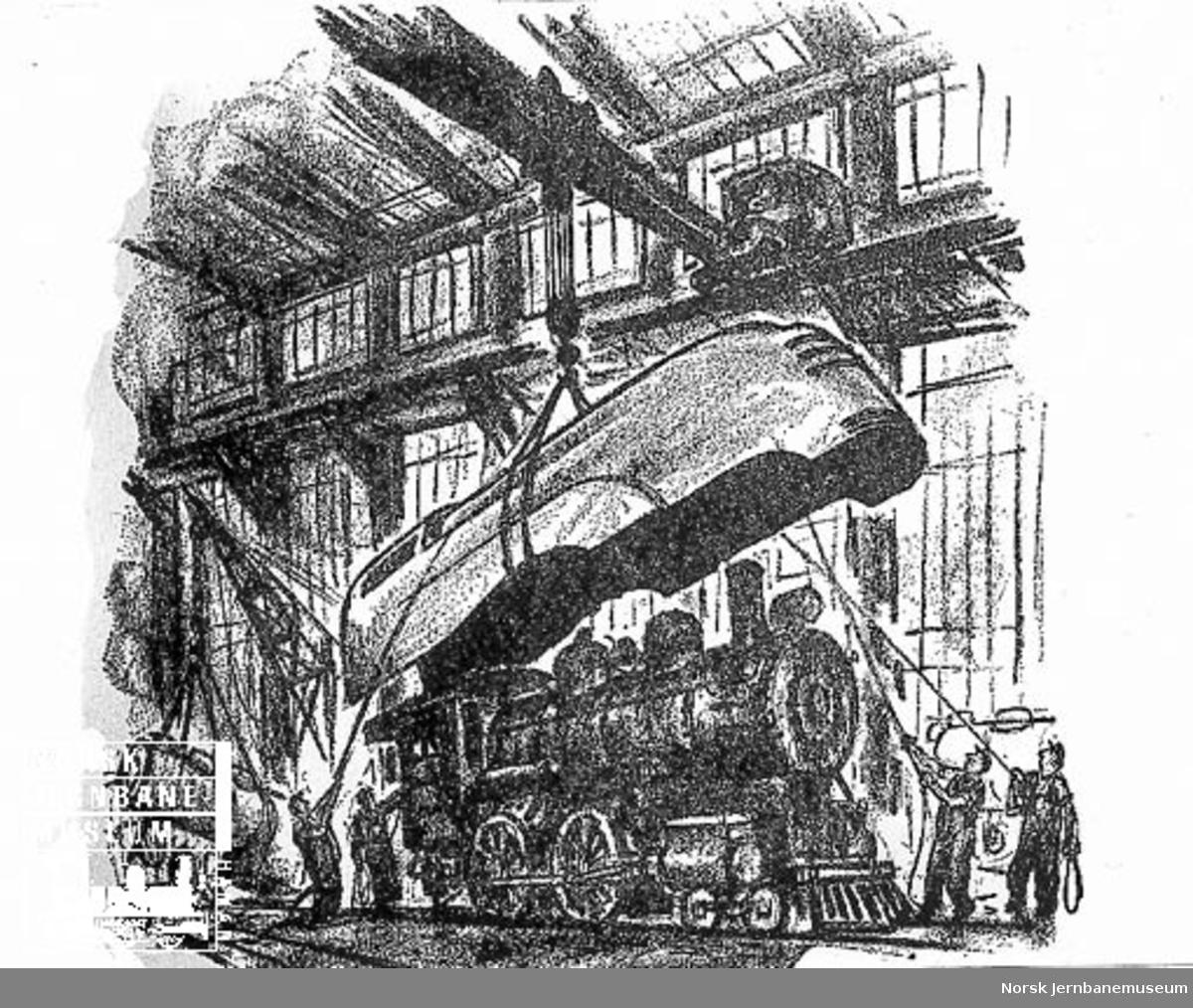 Tegning av Otto Kuhler : Streamlining. En strømlinjet kledning som heises ned på et damplokomotiv