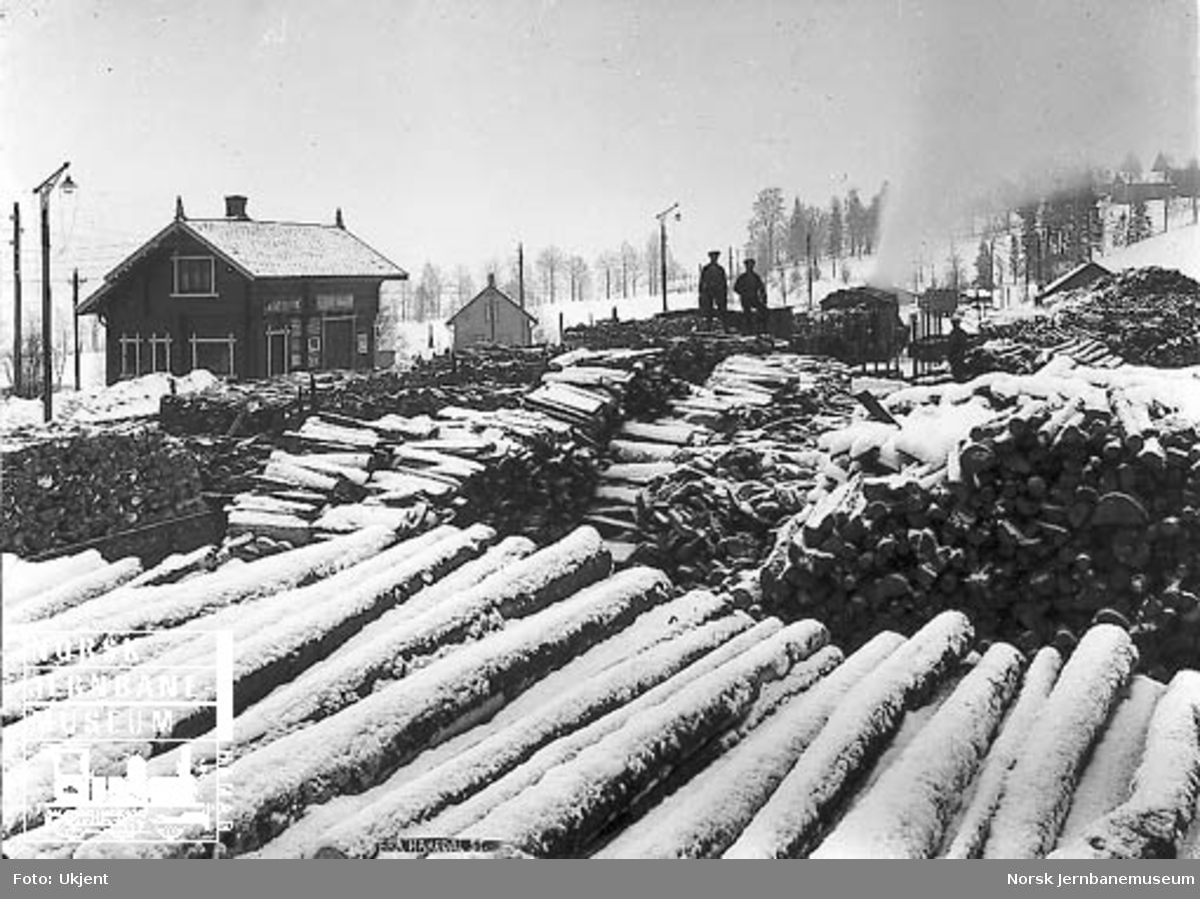 Vedlager på Hakadal stasjon med et godstog i bakgrunnen
