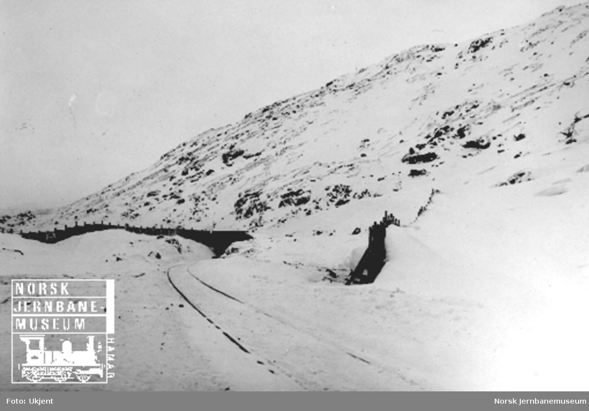 Jernbanen med snøskjerm og snøoverbygg ved Bjørnfjell