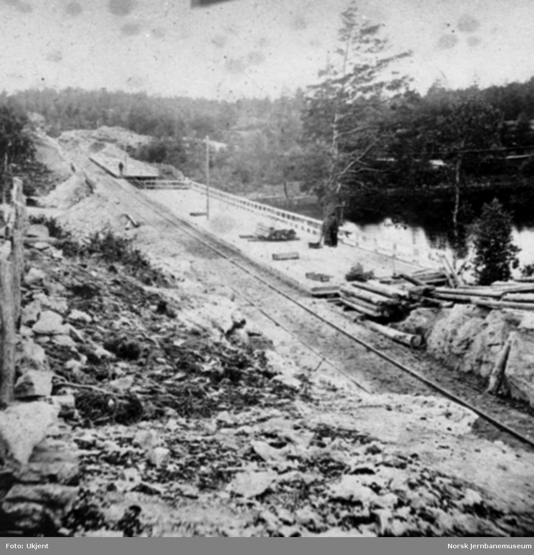Østfoldbanen, partiet ved riksgrensen med anlagt plattform for åpningshøytideligheten