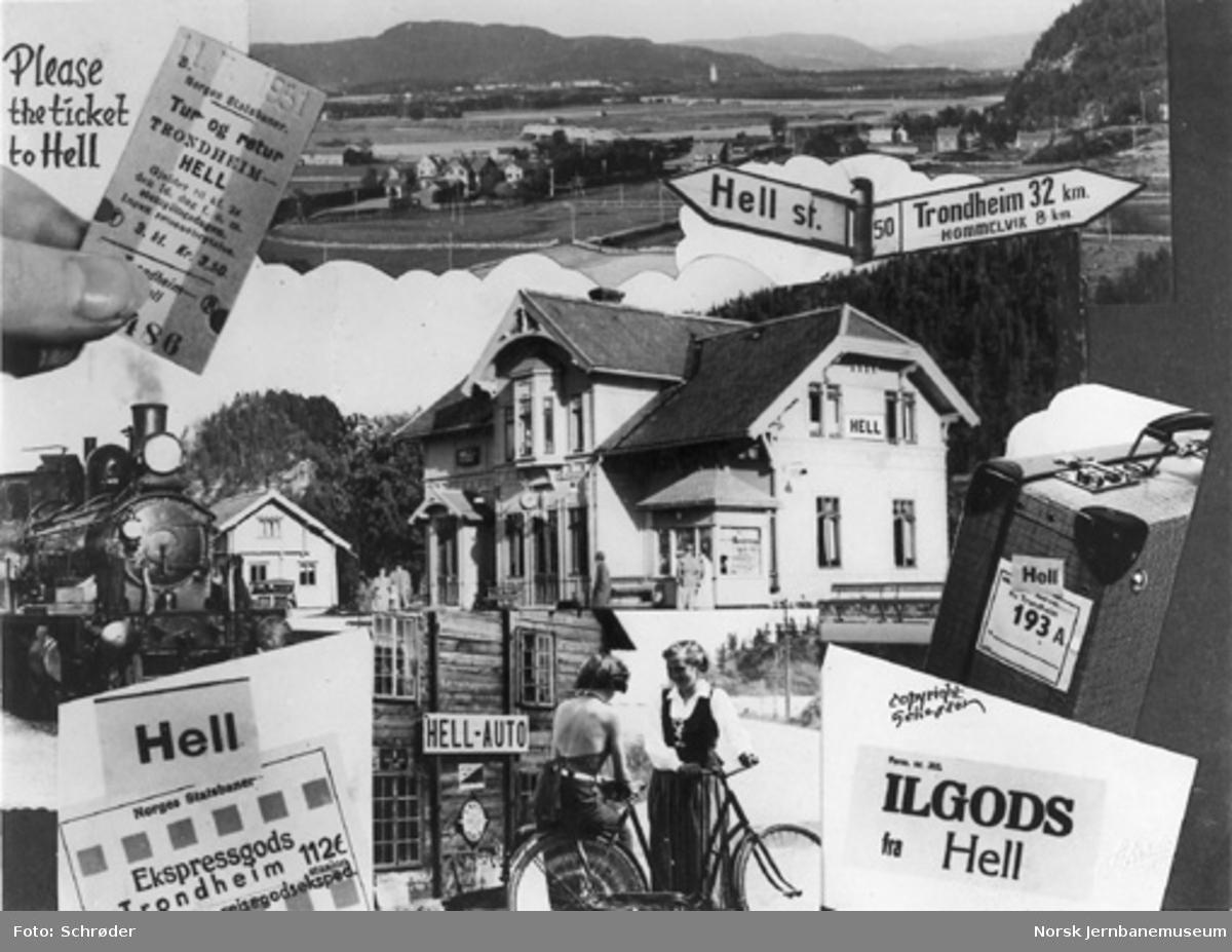 Fotomontasje med bilder fra Hell og stasjonen, billetter og reisegods til og fra Hell