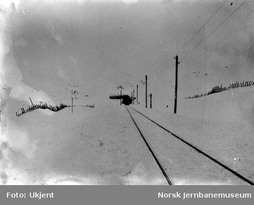 Linjeparti med snøskjermer og snøoverbygg (pel 6700-6725), sett vestover