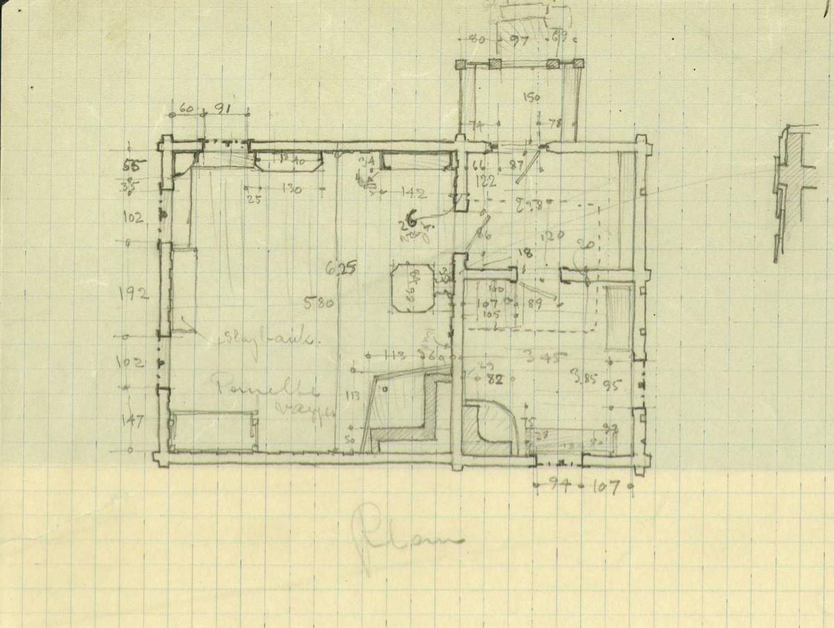 Erling Gjones forarbeid (1927) til oppmåling av stue på Ulrikshov i Rollag, Buskerud. Plan- og snitt-tegning av ut- og innvendige detaljer.