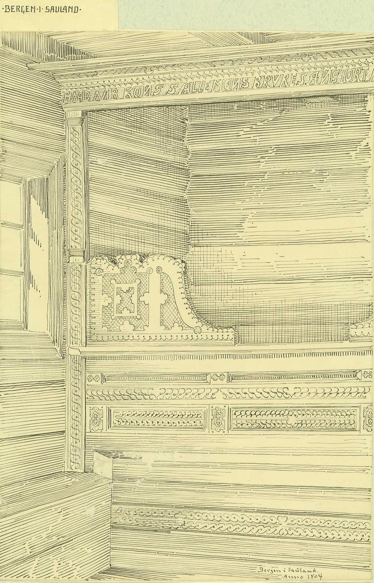 Tegning av seng fra 1804, Bergen, Sauland, Hjartdal, Telemark.