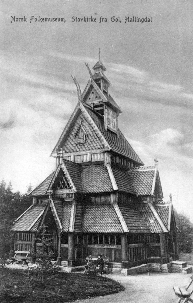 Stavkirken fra Gol i Hallingdal, på Norsk Folkemuseum, fotografert 1868.