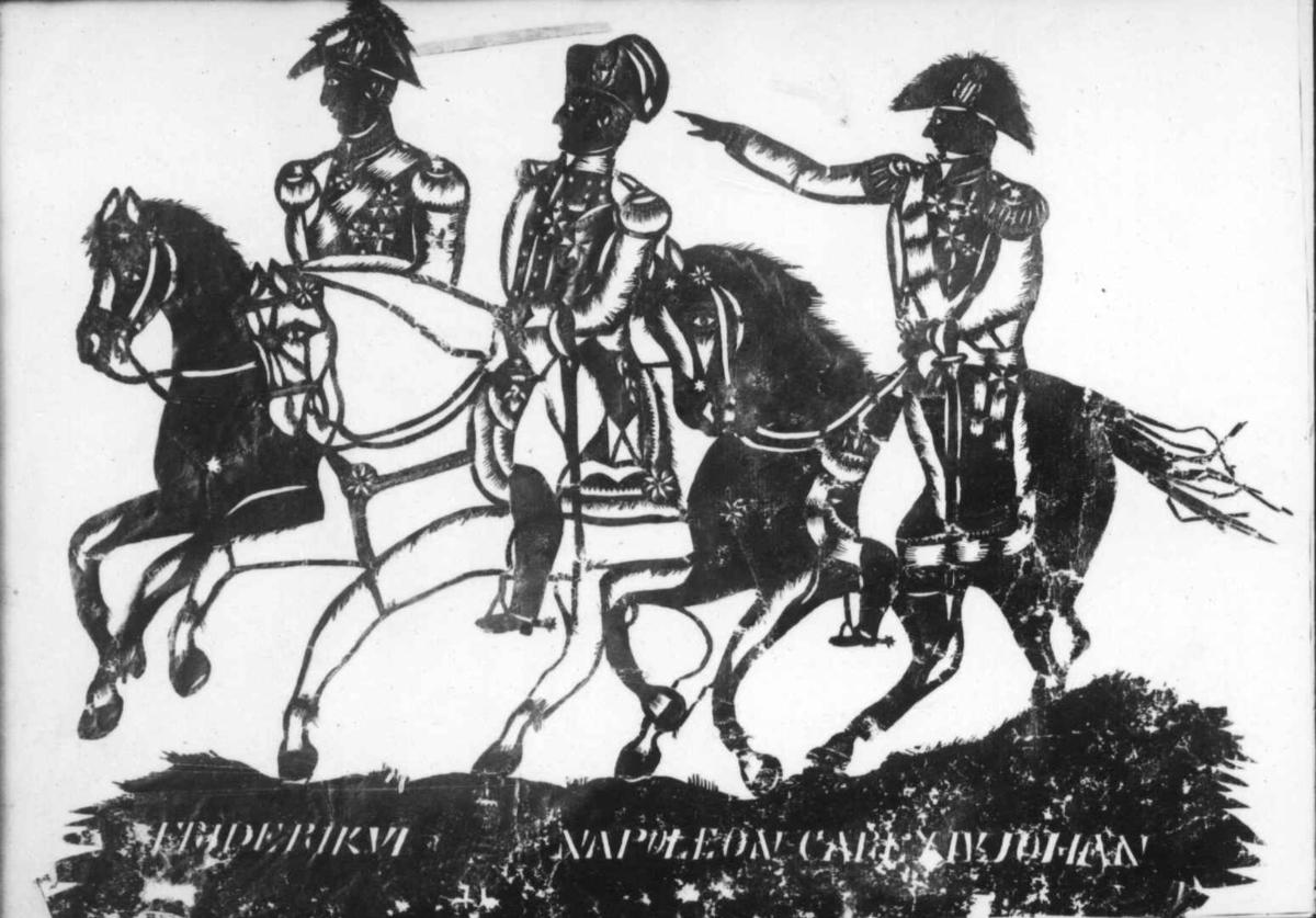 Fredrik VI, Napoleon og Carl XIV Johan, tilhest.