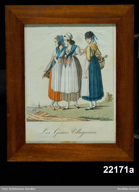 """Huvudliggaren: """"Taflor. Broderade. a. Les Graces Villageoises b. Les Graces Poissardes c. Le Debiteur a la mode d. Les Joueures a la mode e. Les Suppléans. G. af enkefru K. Grapengiesser 8/10 1878."""""""