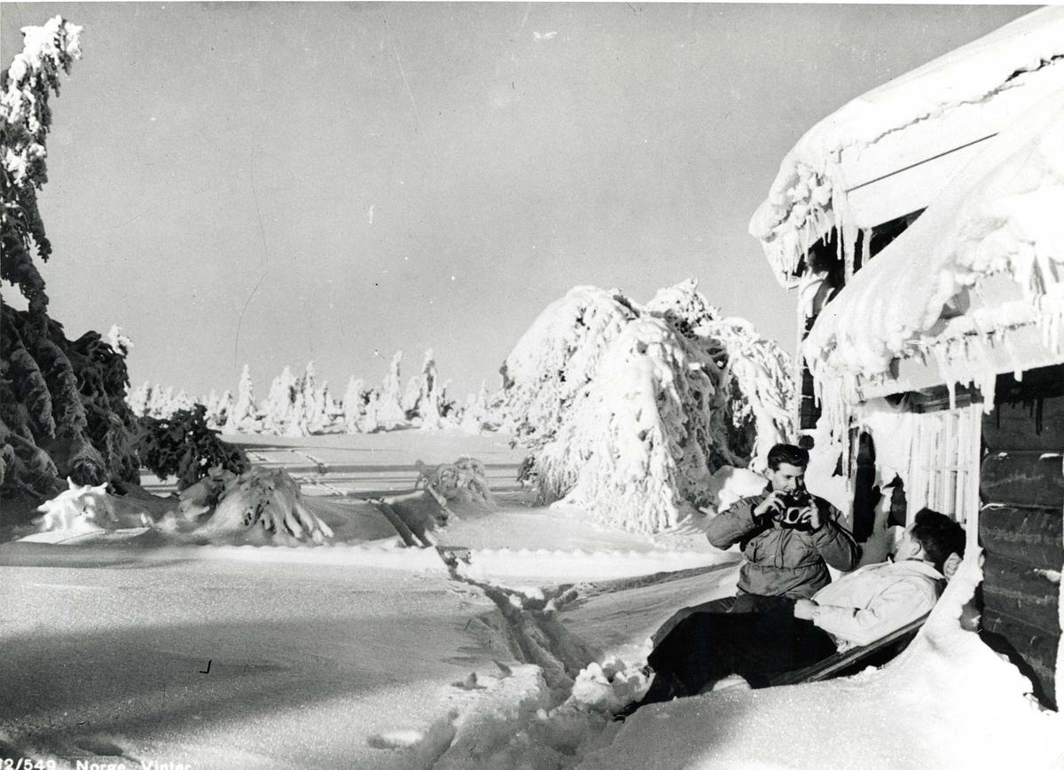 Avfotografert postkort. To skiløpere i hytteveggen i snødekt skogslandskap.  En har et fotoapparat.