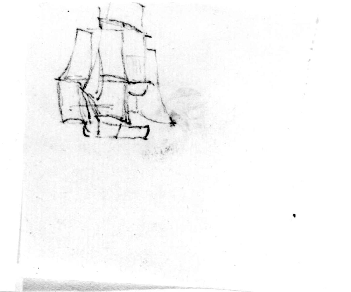 """SeilskuteFra skissealbum av John W. Edy, """"Drawings Norway 1800""""."""