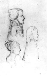 "Edy, profilerFra skissealbum av John W. Edy, ""Drawings Norway 1800""."