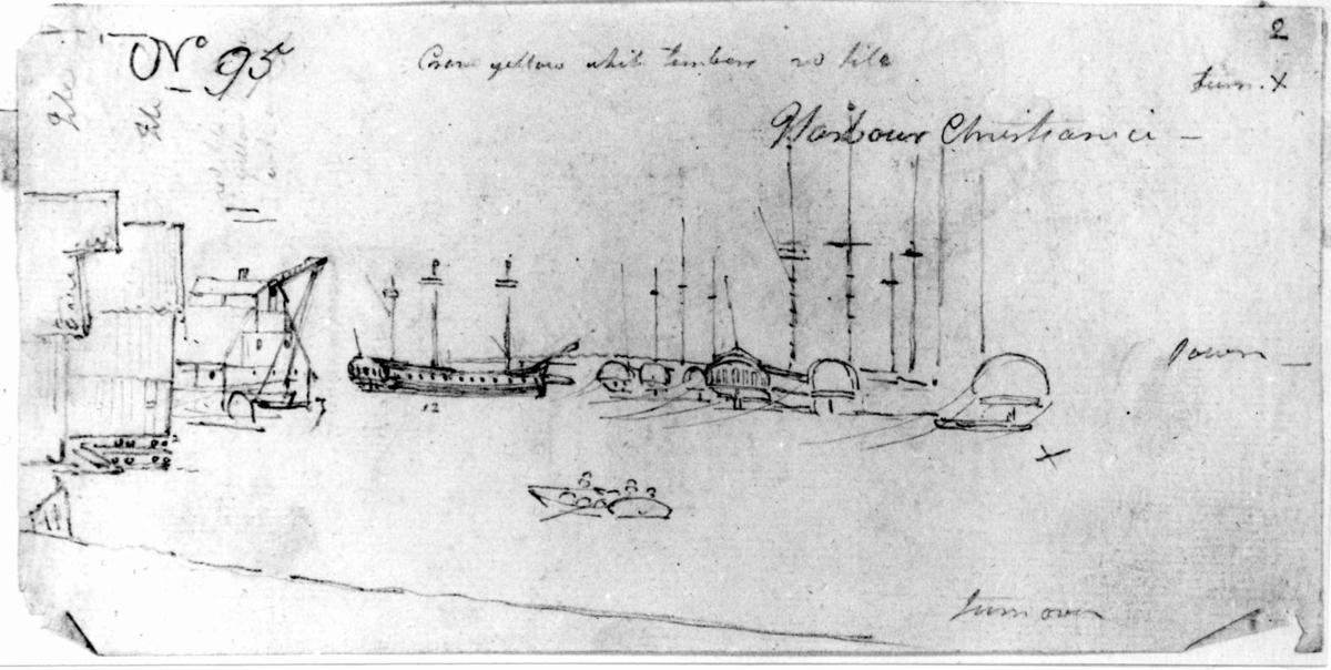 "KristianiaFra skissealbum av John W. Edy, ""Drawings Norway 1800""."