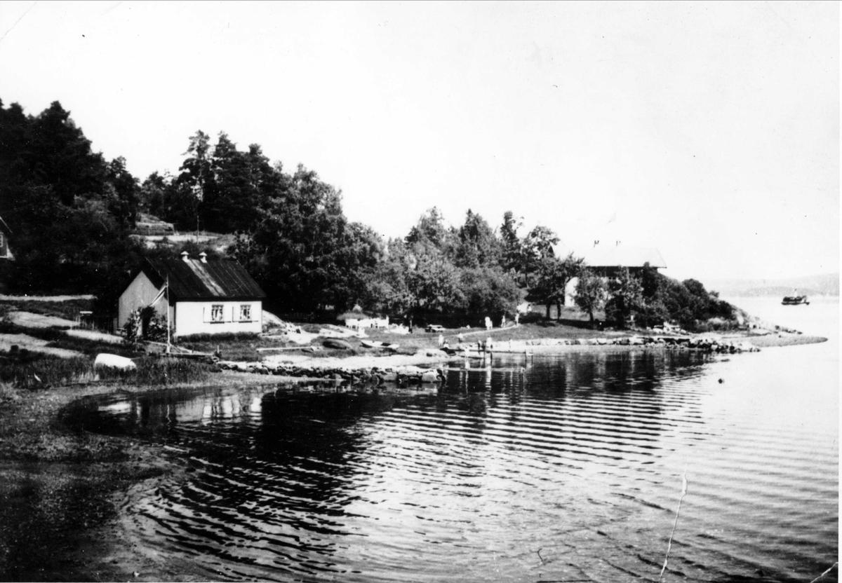 """Oslo Godtemplarungdomslags feriehjem Kirkevik, Nesodden. Bildet viser Kirkevika fotografert fra sørsiden. Den hvite bygningen t.v. er """"Primusen"""", Bak trerne t.h. """"Gamlehuset"""""""